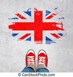 british, 도시의, 젊음, 개념