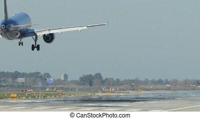 British Airways aircraft landing at Barcelona Airport. Passenger airplane landing. Aircraft landing at Barcelona Airport. Passenger airplane landing. Flying airplane approaching airstrip.