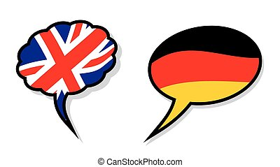 British and German language clouds - Vector illustration of...