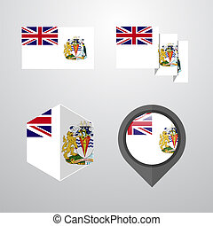 British antarctic Territory flag design set vector