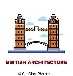British architecture promo poster with famous London bridge....