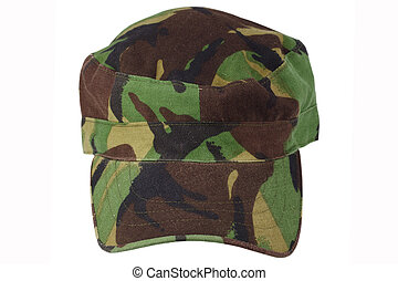 British Armed Forces camouflage cap on a white background