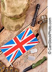 British army equipment flat lay.