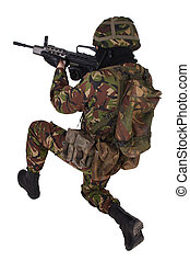 British Army Soldier in camouflage uniforms