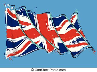 British Artistic Brush Stroke Waving Flag