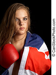 british boxer - boxer girl with british flag