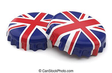 British caps - 3d british crown caps on a white background