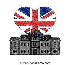 british castle with flag of grear britain in shape heart