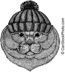 British cat Cool animal wearing knitted winter hat. Warm headdress beanie Christmas cap for tattoo, t-shirt, emblem, badge, logo, patch