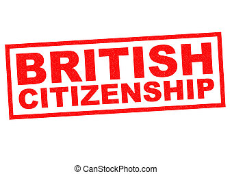 BRITISH CITIZENSHIP red Rubber Stamp over a white background...