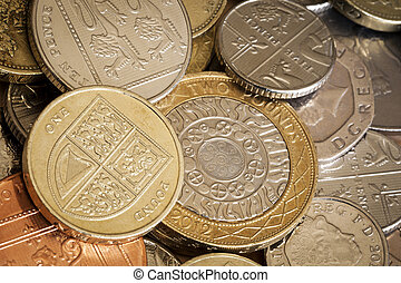 British Coins Full Frame Background