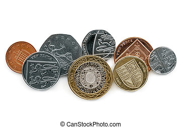 British coins Isolated on White Background