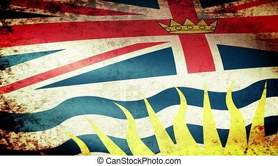 British Columbia Flag Waving, grunge look