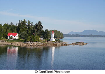 British Columbia Lighthouse - Rocky point on a British...