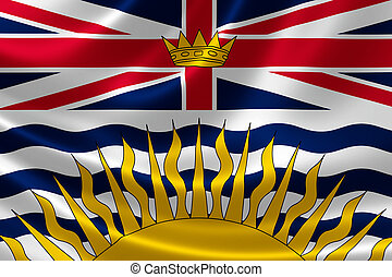 British Columbia Provincial Flag of Canada - 3D rendering of...