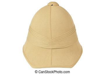 British cork helmet from behind on white background