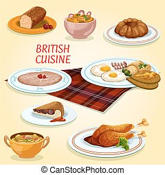 British cuisine dishes for breakfast and lunch - British...