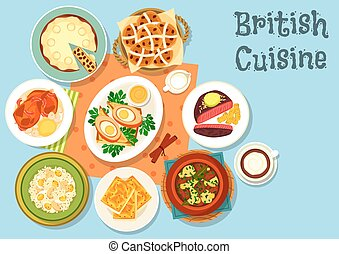 British cuisine main dishes with snack food icon