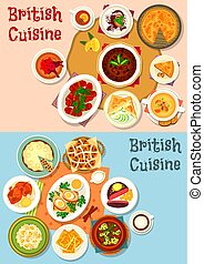 British cuisine popular dishes icon set design