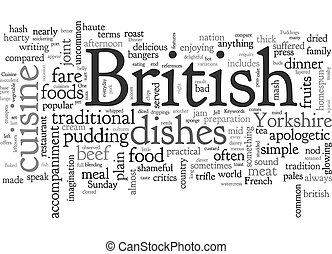 British Cuisine text background wordcloud concept