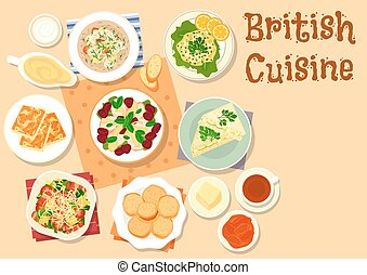 British cuisine traditional breakfast dishes icon