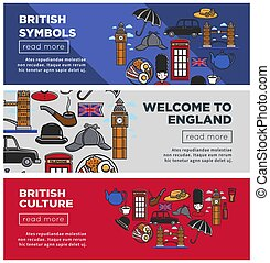 British culture and symbols Internet pages templates set....