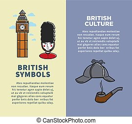 British culture and symbols on vertical brochures set. Tall...