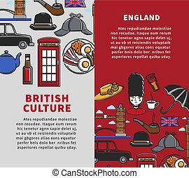 British culture vertical travel booklets with sample text....