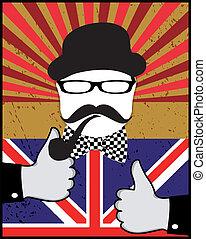 British day - Mustache pattern.British day vector. Retro...