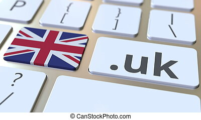 British domain .uk and flag of the UK on the buttons on the computer keyboard. National internet related 3D rendering