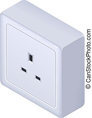 British electrical outlet socket type G isometric icon