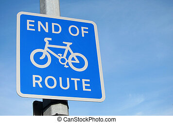 British End of Cycle Route sign.