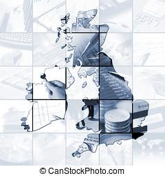 British enterprise - UK outline map over twentyfive images...