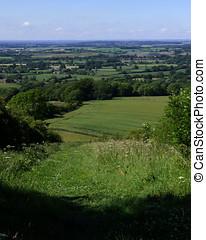 British Farmland Countryside - British landscape view over...