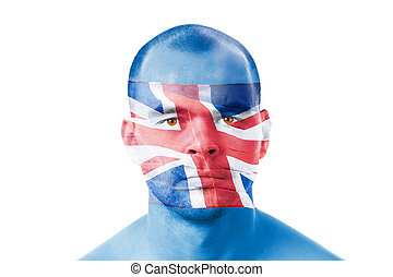 British flag and a face