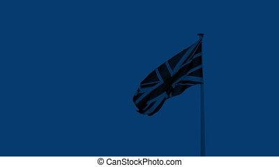 British Flag Blowing At Night - British flag blows around on...
