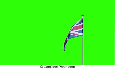 British Flag Blowing Greenscreen - British flag blows around...
