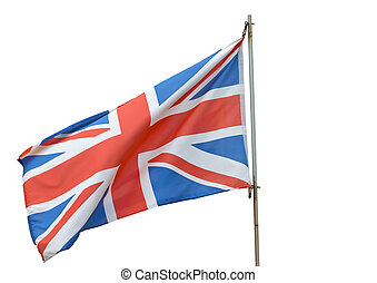 British Flag - British flag flying on a white background.