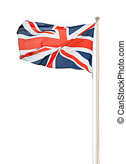 British flag - british union jack flag on a pole isolated on...