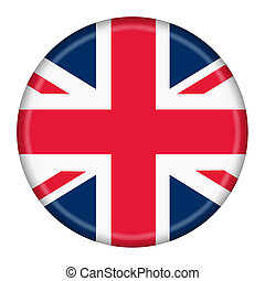 British Flag Button isolated on a white background with clipping path