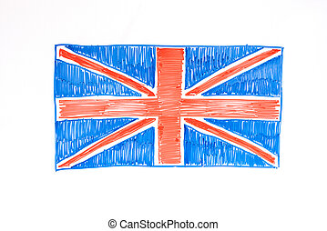 British flag drawn with markers on the Board. Learn English, language school.