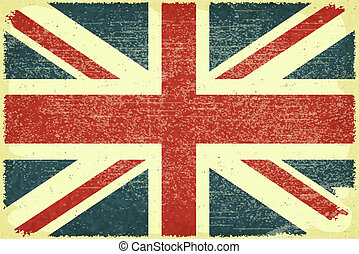 British flag - Grunge poster - British flag in Retro style -...