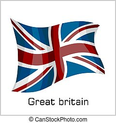 British flag, flag of Great Britain vector illustration