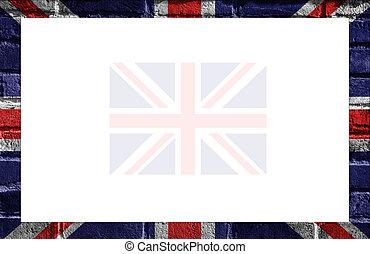 British Flag Frame - UK - British flag painted on brick wall...