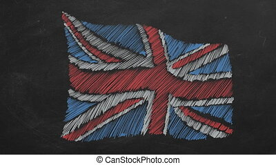 Hand drawing and animated british flag on blackboard. Stop motion animation.