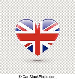 British Flag Heart Icon on Transparent Background