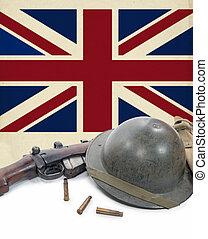 british flag, helmet and rifle of World War II