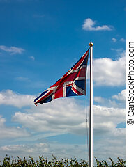 British flag  on airport in UK