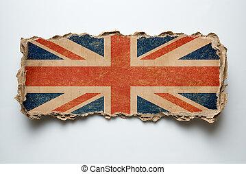 British flag on cardboard piece
