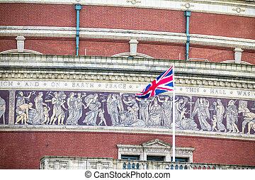 British flag on Royal Albert Hall background. London,  UK